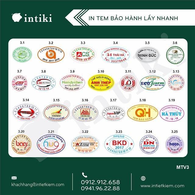 Các mẫu tem bảo hành do công ty in Hà Nội phát hành