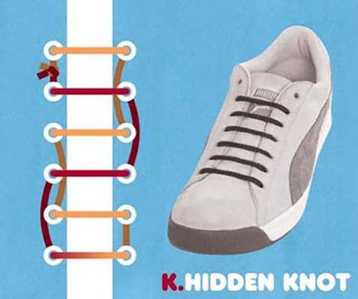 Thắt giày giấu dây kiểu một góc